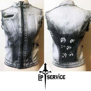 Women's Vintage Lip Service Jean Jacket Vest M